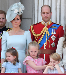 Members of The Royal Family attend Trooping the Colour 2018 at Buckingham Palace, London, UK, on the 9th June 2018. 09 Jun 2018 Pictured: Catherine, Duchess of Cambridge, Kate Middleton, Princess Charlotte, Savannah Phillips, Prince William, Duke of Cambridge, Prince George. Photo credit: James Whatling / MEGA TheMegaAgency.com +1 888 505 6342