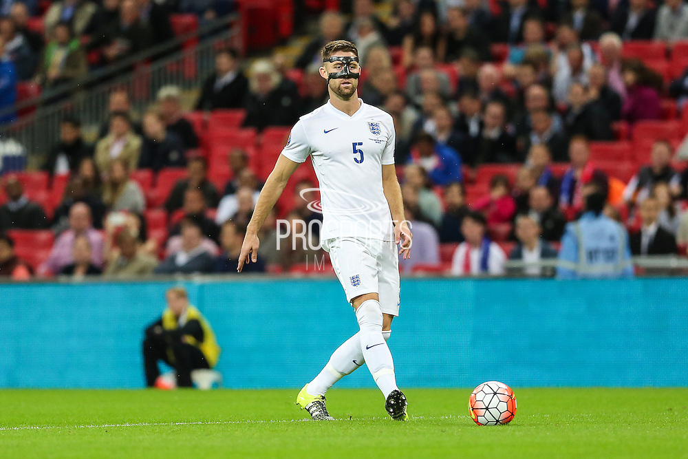 England's Gary Cahill  during the UEFA European 2016 Qualifying match between England and Switzerland at Wembley Stadium, London, England on 8 September 2015. Photo by Shane Healey.