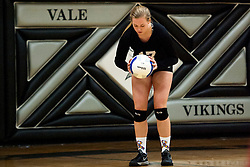 Abby Hamilton. Vale Nampa Christian volleyball, September 22, 2015, Vale High School, Vale, Oregon.