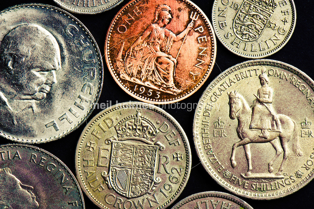 A selection of British coins from the 1950's and 1960's