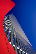 Twin Tower and Alexander Calder Sculpture looking up,World Trade Center, Twin Towers, NEw YOrk CIty, New York