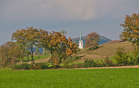 A glimpse of the church spire in Berikon as seen from Himmelreich at the beginning of autumn. In Aargau, Switzerland.
