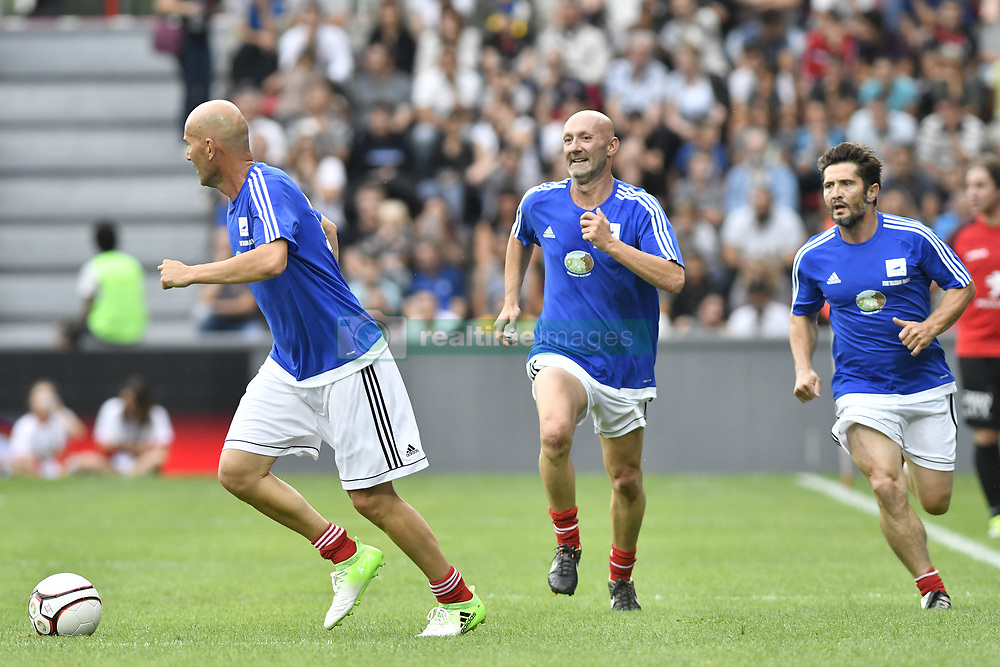 Zinedine Zidane, Fabien Barthez and Bixente Lizarazu during the France 98 V Stade Toulousain match at the Ernest Wallon stadium in Toulouse, France, on July 10, 2017. Photo by Pascal Rondeau/ABACAPRESS.COM