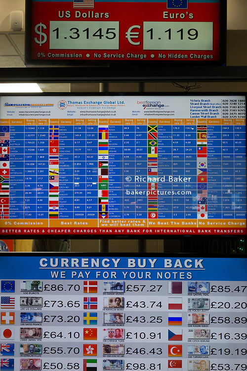A detail of three screens showing the current rates for foreign currencies on the Strand, on 12th December 2017, in London England.