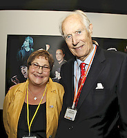 Pauline Etkin (Nordoff-Robbins MD) and Sir George Martin CBE. The BRIT School Industry Day, Croydon, London..Thursday, Sept.22, 2011 (John Marshall JME)