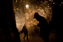 August 16, 2017 - Barcelona, Catalonia, Spain - Devils and revelers take part in a correfoc  during the celebration of Sant Roc Festival in Barcelona. Correfocs, an old Catalan tradition where people dressed as devils blow up firecrackers and flares, take part every August in the celebrations for the Sant Roc Festival in the Gothic Quarter of Barcelona. (Credit Image: © Jordi Boixareu via ZUMA Wire)