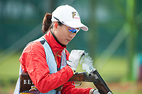 London, England, 21-04-12. Ning WEI (CHN) in the ISSF World Cup Skeet Finals, Royal Artillery Barracks, London. Part of the London Prepares Olympic preparations. Wei took the gold medal
