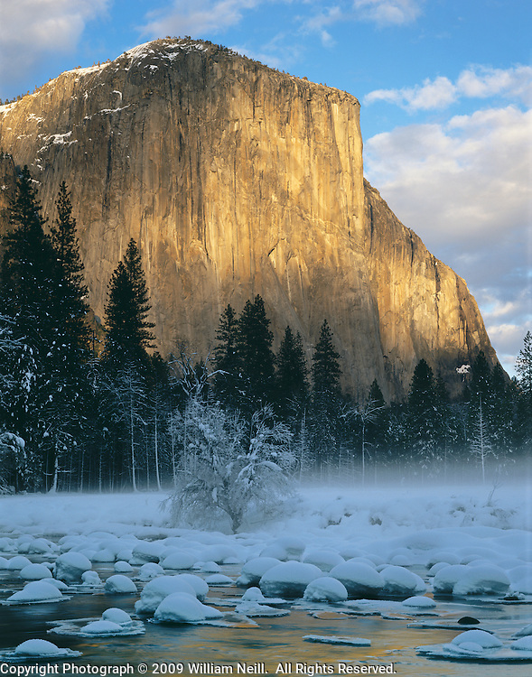 Winter Sunset, El Capitan and Merced River, Gates of the Valley, Yosemite National Park,  California