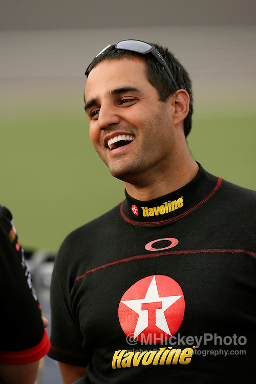 Juan Pablo Montoya seen during practice for the UAW Daimler Chrysler 400 at the Las Vegas Motor Speedway.