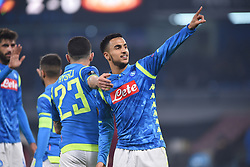 February 21, 2019 - Naples, Naples, Italy - Adam Ounas of SSC Napoli celebrates after scoring 2-0 during the UEFA Europa League Round of 32 Second Leg match between SSC Napoli and FC Zurich at Stadio San Paolo Naples Italy on 21 February 2019. (Credit Image: © Franco Romano/NurPhoto via ZUMA Press)