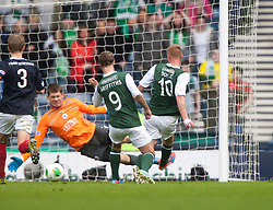 Hibernian's Leigh Griffiths misses a penalty and Falkirk's keeper Michael McGovern saves from Hibernian's Eoin Doyle..Hibernian 4 v 3 Falkirk, William Hill Scottish Cup Semi Final, Hampden Park..©Michael Schofield..