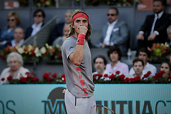 May 12, 2019 - Madrid, Spain - Stefanos Tsitsipas from Greece during the Mutua Madrid Open Masters final match against Novak Djokovic from Serbia on day eight at Caja Magica in Madrid, Spain. Novak Djokovic beat Stefanos Tsitsipas. May 12, 2019. (Credit Image: © A. Ware/NurPhoto via ZUMA Press)