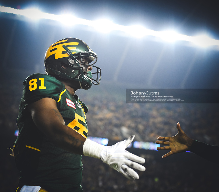 D'haquille Williams (81) of the Edmonton Eskimos during the game against the Calgary Stampeders at Commonwealth Stadium in Edmonton AB, Saturday, September 9, 2017. (Photo: Johany Jutras)