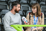 Forest Green Rovers goalkeeper Sam Russell(23) is interviewed by a radio reporter during the Forest Green Rovers Press Conference and Training session at the New Lawn, Forest Green, United Kingdom on 12 May 2017. Photo by Shane Healey.
