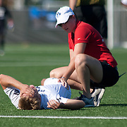 Goldey-Beacom Forward Matt Bik (7) is assisted by medical personnel during a NCAA regular season match against Wilmington University Wednesday, Sept. 12, 2012. at Kirkwood Soccer Complex...Special to Monsterphoto/SAQUAN STIMPSON