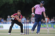 Tim Groenewald takes 3-24 during the NatWest T20 Blast South Group match between Middlesex County Cricket Club and Somerset County Cricket Club at Uxbridge Cricket Ground, Uxbridge, United Kingdom on 26 June 2015. Photo by David Vokes.