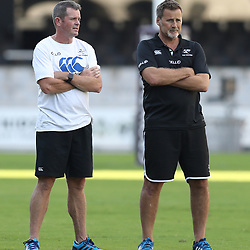 Sean Everitt (Assistant Coach) of the Cell C Sharks with Robert du Preez (Head Coach) of the Cell C Sharks during The Cell C Sharks Cap Run at Growthpoint Kings Park in Durban, South Africa. 5th May 2017(Photo by Steve Haag)<br /> <br /> images for social media must have consent from Steve Haag