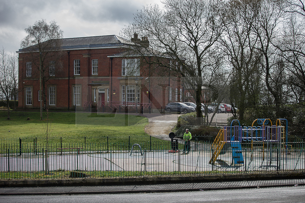 © Licensed to London News Pictures . 04/04/2016 . Bolton , UK . Scene at Thomasson Park playground in the Halliwell area of Bolton , where a male was found hanged and dead on the morning of Monday 4th April 2016 . Greater Manchester Police report that the body of an Asian man aged 30 to 40-years-old has been recovered and that they have yet to identify the body . Photo credit : Joel Goodman/LNP