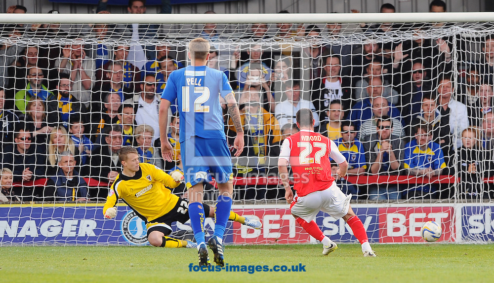 P&aacute;draig Amond of Morecambe converts a penalty to score his team's third goal during the Sky Bet League 2 match at the Cherry Red Records Stadium, Kingston<br /> Picture by Seb Daly/Focus Images Ltd +447738 614630<br /> 26/04/2014