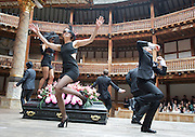 The God of Soho <br /> by Chris Hannan<br /> directed by Raz Shaw<br /> at Shakespeare's Globe Theatre, London, Great Britain <br /> press photocall<br /> 31st August 2011 <br /> <br /> Emma Pierson (as Natty)<br /> and Company <br /> <br /> Photograph by Elliott Franks