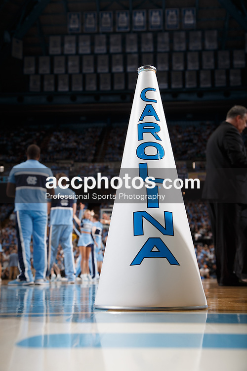 CHAPEL HILL, NC - FEBRUARY 22: A cheerleader's megaphone of the North Carolina Tar Heels sits on the court during a game against the Wake Forest Demon Deacons on February 22, 2014 at the Dean E. Smith Center in Chapel Hill, North Carolina. North Carolina won 105-72. (Photo by Peyton Williams/UNC/Getty Images)