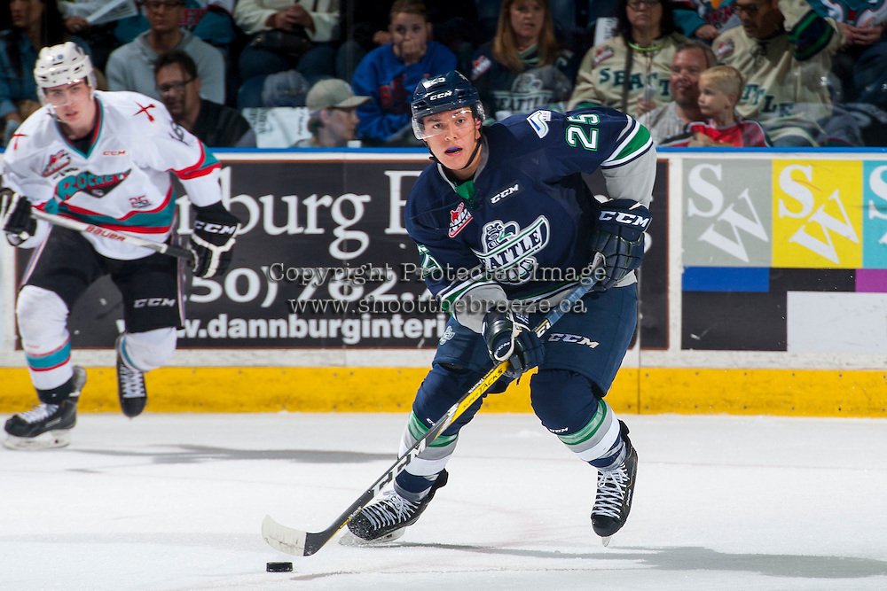 KELOWNA, CANADA - APRIL 22: Ethan Bear #25 of Seattle Thunderbirds skates with the puck against the Kelowna Rockets on April 22, 2016 at Prospera Place in Kelowna, British Columbia, Canada.  (Photo by Marissa Baecker/Shoot the Breeze)  *** Local Caption *** Ethan Bear;