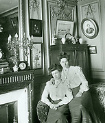 French sisters seated in a domestic room, circa 1900-1910