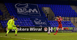 BIRKENHEAD, ENGLAND - Tuesday, December 19, 2017: Liverpool's Ben Woodburn scores the second goal during the Under-23 FA Premier League International Cup Group A match between Liverpool and PSV Eindhoven at Prenton Park. (Pic by David Rawcliffe/Propaganda)