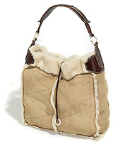 fur lined tan suede michael kors  handbag