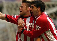 Photo: Daniel Hambury Digitalsport<br /> Barclaycard Premiership. Wolverhampton Wanderes V Southampton   3/4//2004.  <br /> <br /> Southamptons' James Beattie celebrates his goal with team mate Rory Delap