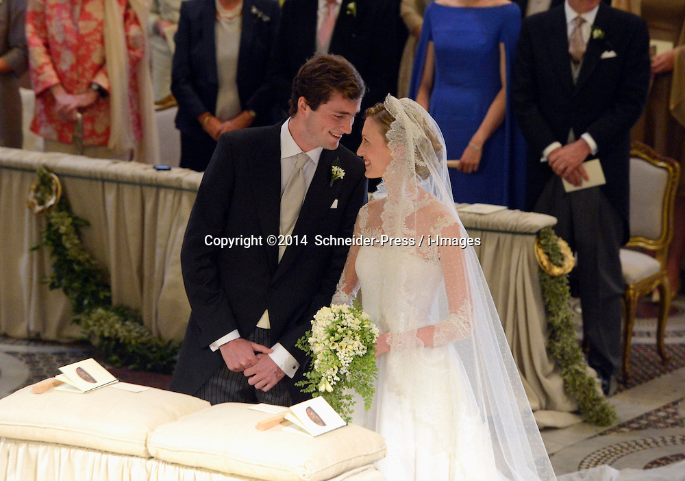 Image ©Licensed to i-Images Picture Agency. 05/07/2014. Rome, Italy.  Prince Amedeo of Belgium and Princess Elisabetta Maria their wedding ceremony at Basilica Santa Maria in Trastevere. Picture by  Schneider-Press / i-Images<br /> UK&USA ONLY