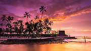 Sunset over Pu'uhonua O Honaunau National Historic Park (City of Refuge), Kona Coast, Hawaii USA
