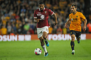 Bremer of Torino & Jonny of Wolverhampton Wanderers during the Europa League play off leg 2 of 2 match between Wolverhampton Wanderers and Torino at Molineux, Wolverhampton, England on 29 August 2019.
