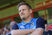 AFC Wimbledon manager Neal Ardley prior the EFL Sky Bet League 1 match between Walsall and AFC Wimbledon at the Banks's Stadium, Walsall, England on 6 August 2016. Photo by Stuart Butcher.