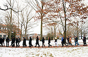 Ohio University students and faculty participate a silent march on College Green held in remembrance of Martin Luther King. (Photo by Olivia Wallace)