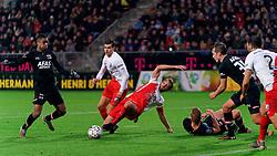 23-11-2019 NED: FC Utrecht - AZ Alkmaar, Utrecht<br /> Round 14 / Myron Boadu #9 of AZ Alkmaar, Willem Janssen #14 of FC Utrecht, Justin Hoogma #3 of FC Utrecht