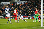 Kieran Gibbs celebrates his goal that make it 1-0 during the EFL Sky Bet Championship match between West Bromwich Albion and Bristol City at The Hawthorns, West Bromwich, England on 27 November 2019.