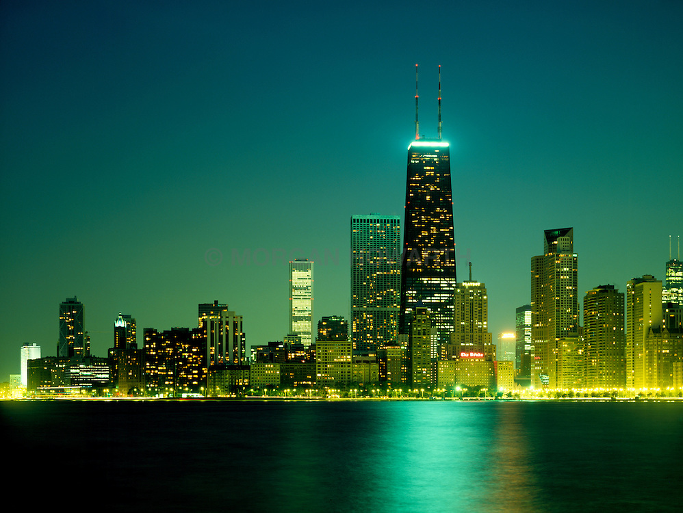 Chicago city skyline with lake Michigan and sears tower