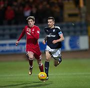 8th December 2017, Dens Park, Dundee, Scotland; Scottish Premier League football, Dundee versus Aberdeen; Dundee's Cammy Kerr and Aberdeen's Ryan Christie