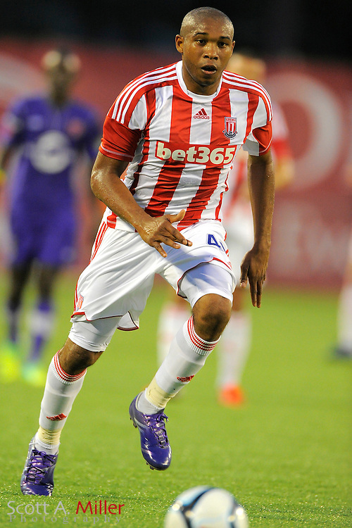 Stoke City Potters midfielder Wilson Palacios (40) during the Potters game aginst the Orlando City Lions at the Florida Citrus Bowl on July 28, 2012 in Orlando, Florida. Stoke won 1-0...© 2012 Scott A. Miller.