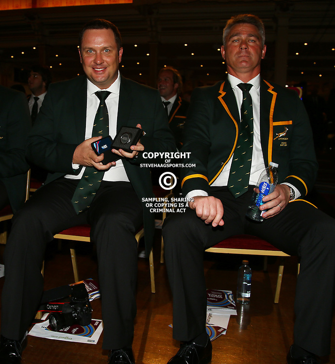 EASTBOURNE, ENGLAND - SEPTEMBER 13: De Jongh Borchardt (Communications Manager) with Heyneke Meyer (Head Coach) of South Africa during the 2015 Rugby Wolrd Cup Springboks Welcome function at Eastbourne Winter Gardens on September 13, 2015 in Eastbourne, England. (Photo by Steve Haag Emirates)