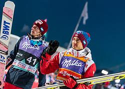 13.03.2018, Lysgards Schanze, Lillehammer, NOR, FIS Weltcup Ski Sprung, Raw Air, Lillehammer, im Bild Dawid Kubacki (POL), Kamil Stoch (POL) // Dawid Kubacki of Poland, Kamil Stoch of Poland during the 2nd Stage of the Raw Air Series of FIS Ski Jumping World Cup at the Lysgards Schanze in Lillehammer, Norway on 2018/03/13. EXPA Pictures © 2018, PhotoCredit: EXPA/ JFK