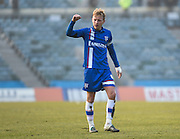 Gillingham midfielder Josh Wright (captain) scorer of the third goal (3-0) celebrates the 3-0 win after the Sky Bet League 1 match between Gillingham and Crewe Alexandra at the MEMS Priestfield Stadium, Gillingham, England on 12 March 2016. Photo by David Charbit.