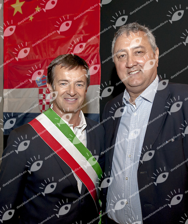 (L to R) Giorgio Gori Mayor Bergamo, Paolo Barelli FIN President<br /> Opening Ceremony<br /> day 00 - 22/06/2015<br /> FINA Water Polo World League Superfinal Men<br /> Bergamo (ITA) 23-28 June 2015<br /> Photo G.Scala/Deepbluemedia