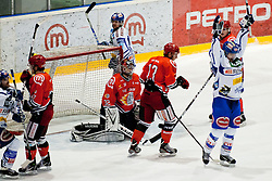 Shayne Toporowski (EC Rekord Fenster VSV, #88) celebrates scoring a goal during ice-hockey match between HK Acroni Jesenice and EC Rekord Fenster VSV in 37th Round of EBEL league, on Januar 3, 2012 at Dvorana Podmezaklja, Jesenice, Slovenia. (Photo By Matic Klansek Velej / Sportida)