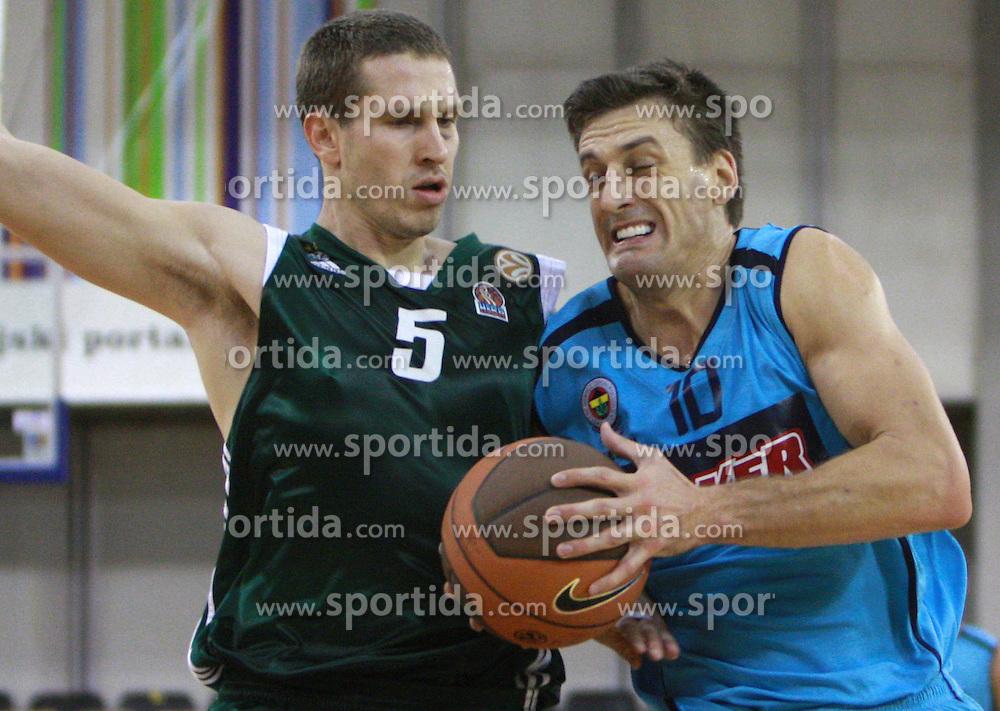 Dusan Kecman and Gordan Giricek of Fenerbahce  at Pre-season basketball tournament between Panathinaikos, Athen, and Fenerbahce Ulker, Istanbul, on September 28, 2008, in Arena Tivoli in Ljubljana. Match was won by Fenerbahce 82:74. (Photo by Vid Ponikvar / Sportal Images)