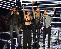 Cole Whittle, Joe Jonas, JinJoo Lee and Jack Lawless of DNCE receiving the Best Newcomer Award at the MTV Video Music Awards 2016, Madison Square Garden, New York City.