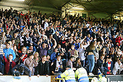 Dundee fans celebrate after James McPake scored with the last kick of the ball - Dundee United v Dundee at Tannadice<br /> - Ladbrokes Premiership<br /> <br />  - © David Young - www.davidyoungphoto.co.uk - email: davidyoungphoto@gmail.com