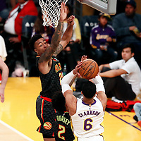07 January 2018: Los Angeles Lakers guard Jordan Clarkson (6) takes a jump shot over Atlanta Hawks guard Tyler Dorsey (2)  during the LA Lakers 132-113 victory over the Atlanta Hawks, at the Staples Center, Los Angeles, California, USA.