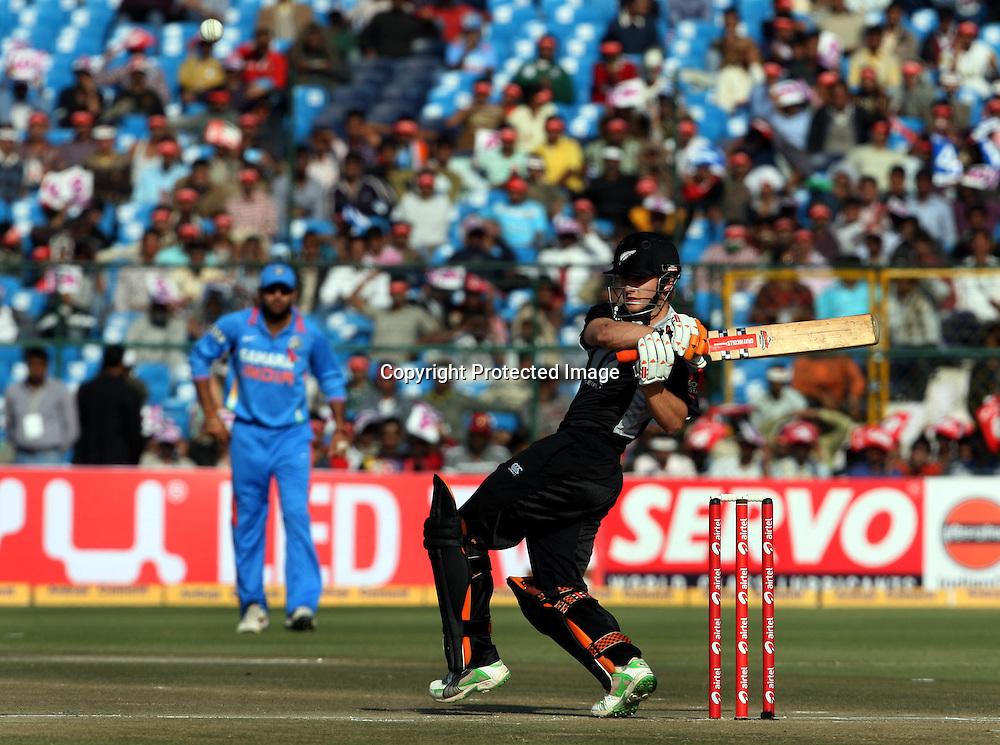New Zeland batsman Kane Williamson plays a shot against india during the 2nd ODI india vs New Zealand Played at Sawai Mansingh Stadium, Jaipur, 1 December 2010 - day/night (50-over match)
